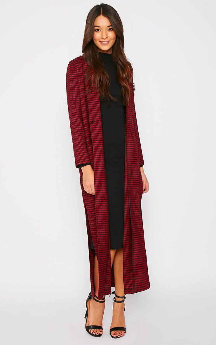 Vani Red Dogtooth Print Longline Duster Coat 1