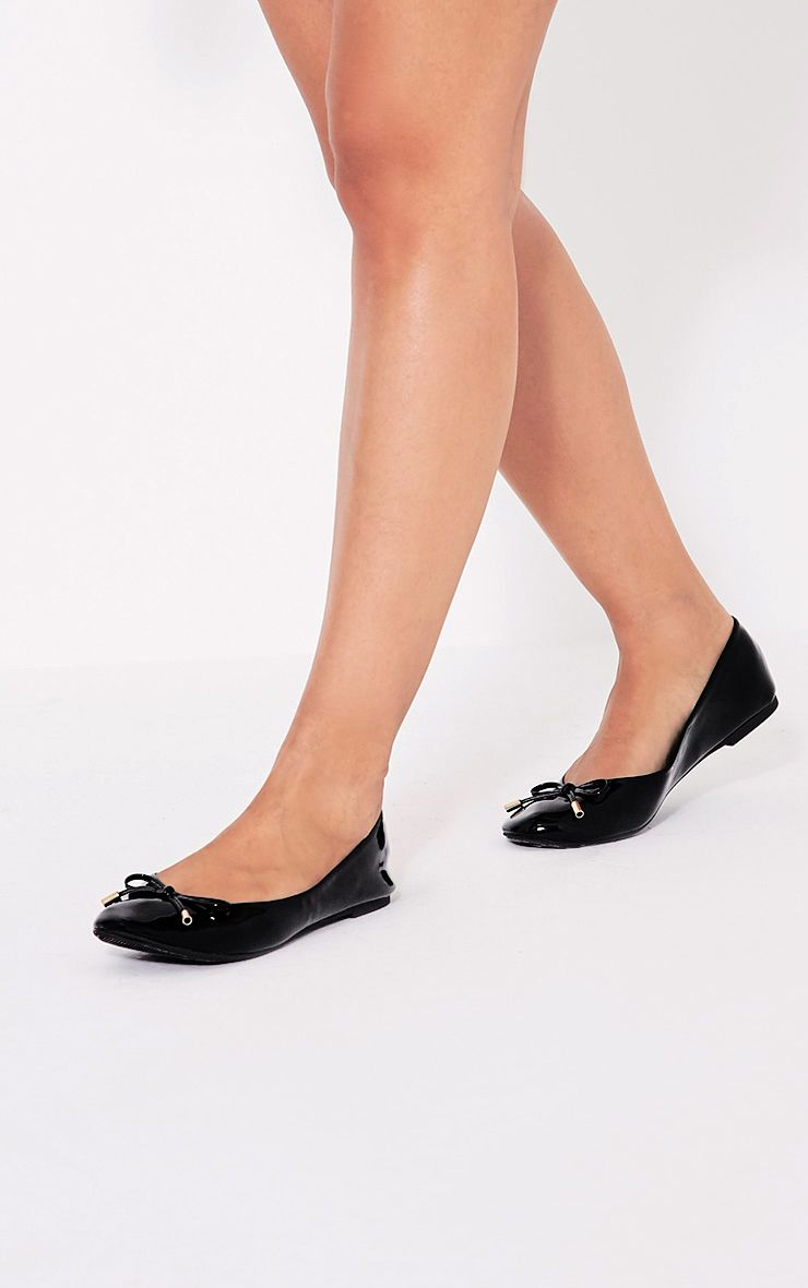 Tamika Black Patent Ballet Pumps