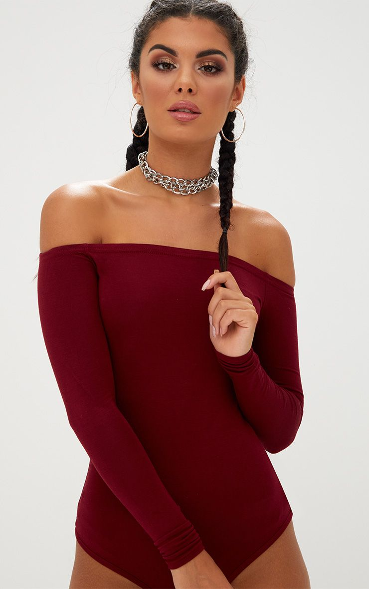 Burgundy Basic Bardot Bodysuit