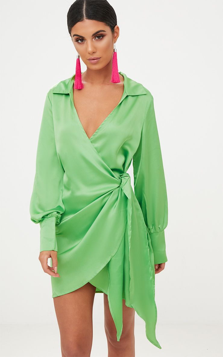 Lime Satin Deep Cuff Wrap Front Shift Dress