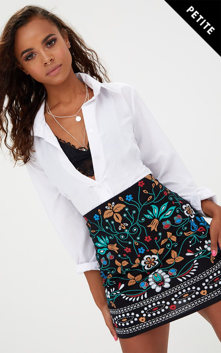 Petite Black Embroidered Print Mini Skirt