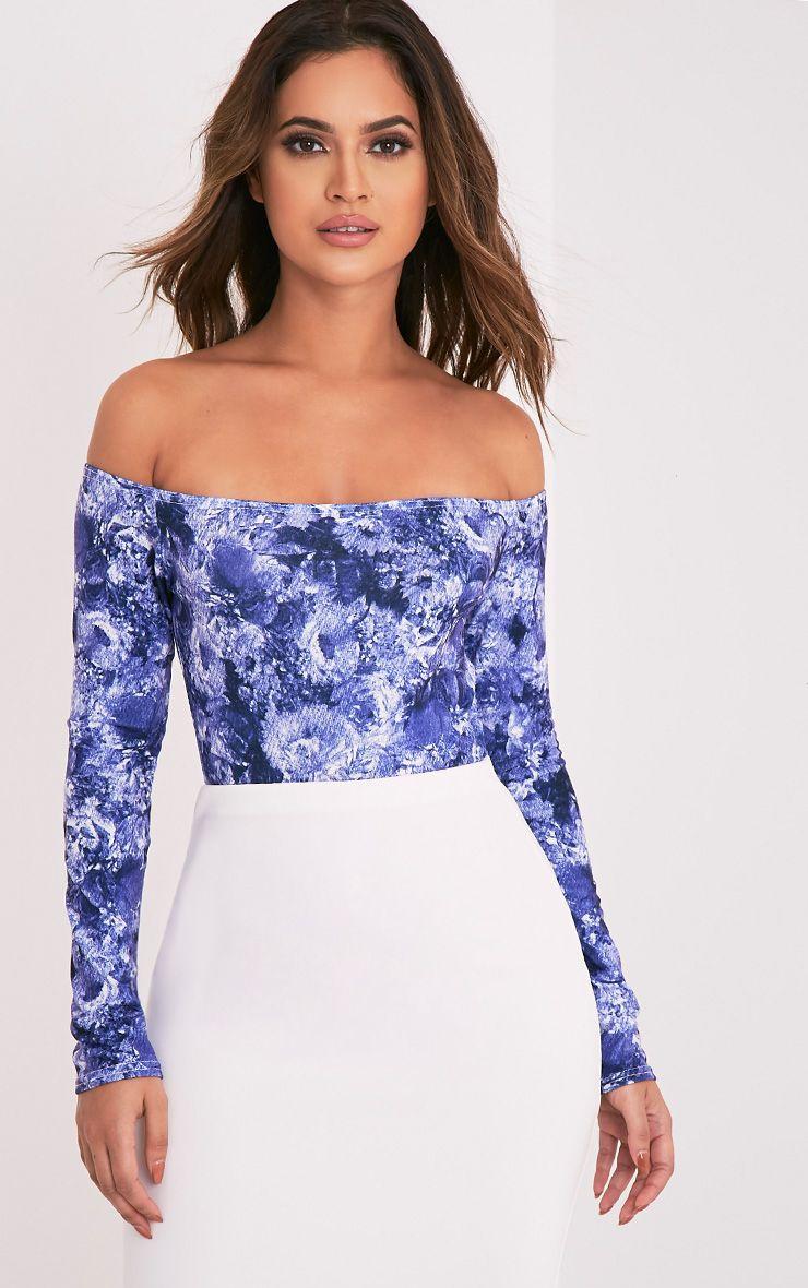 Fauna Blue Bardot Blue Floral Print Bodysuit 1