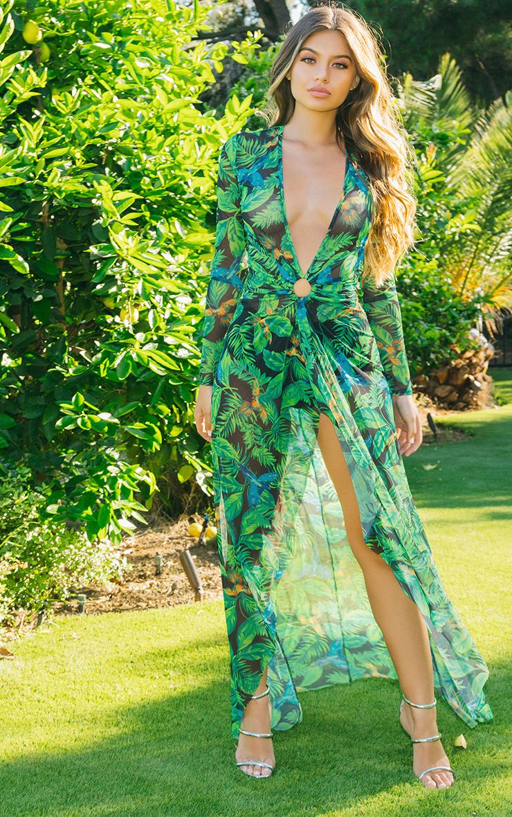 Green Tropical Print Maxi