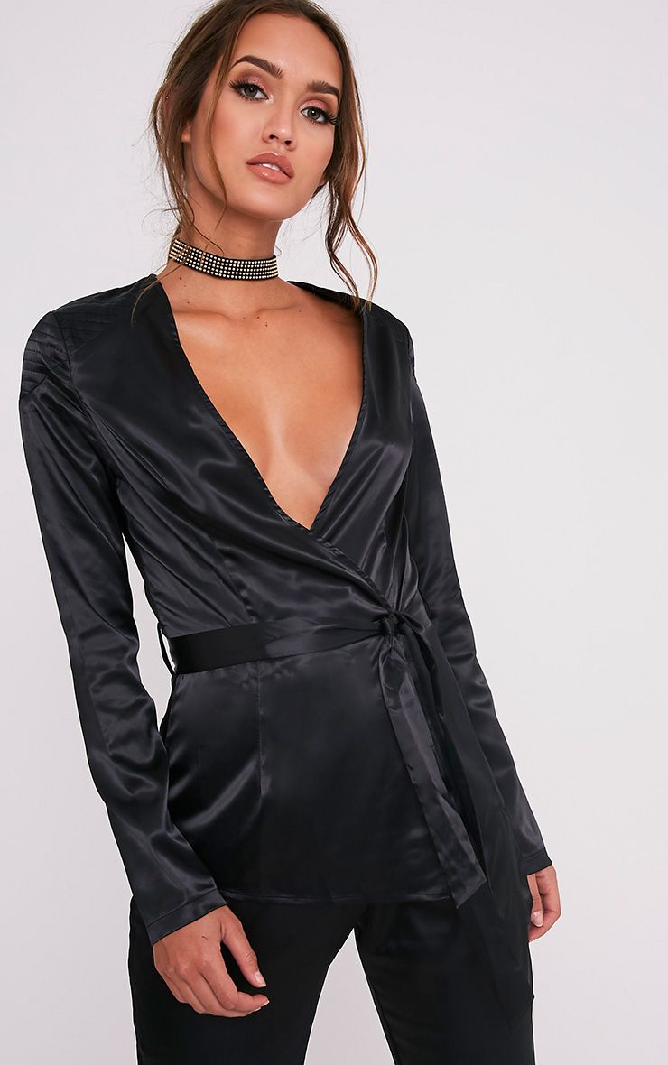 Sanciah Black Satin Wrap Front Blazer