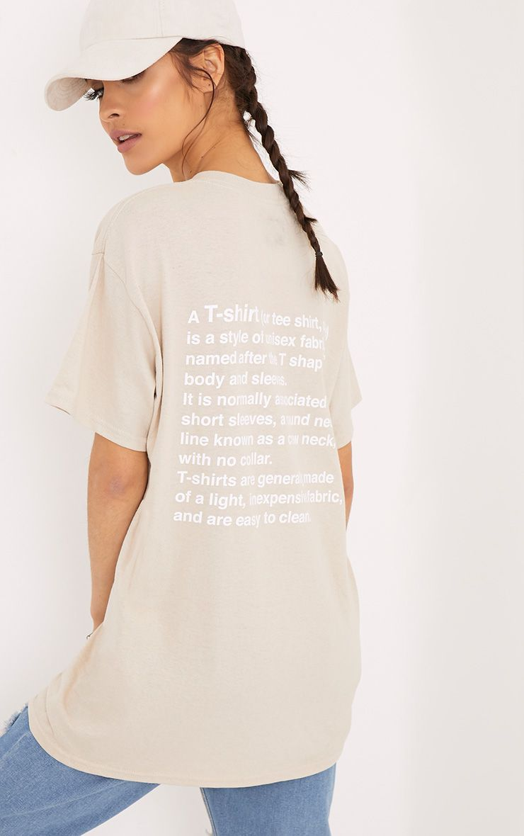 T Shirt Definition Printed Sand Back T Shirt