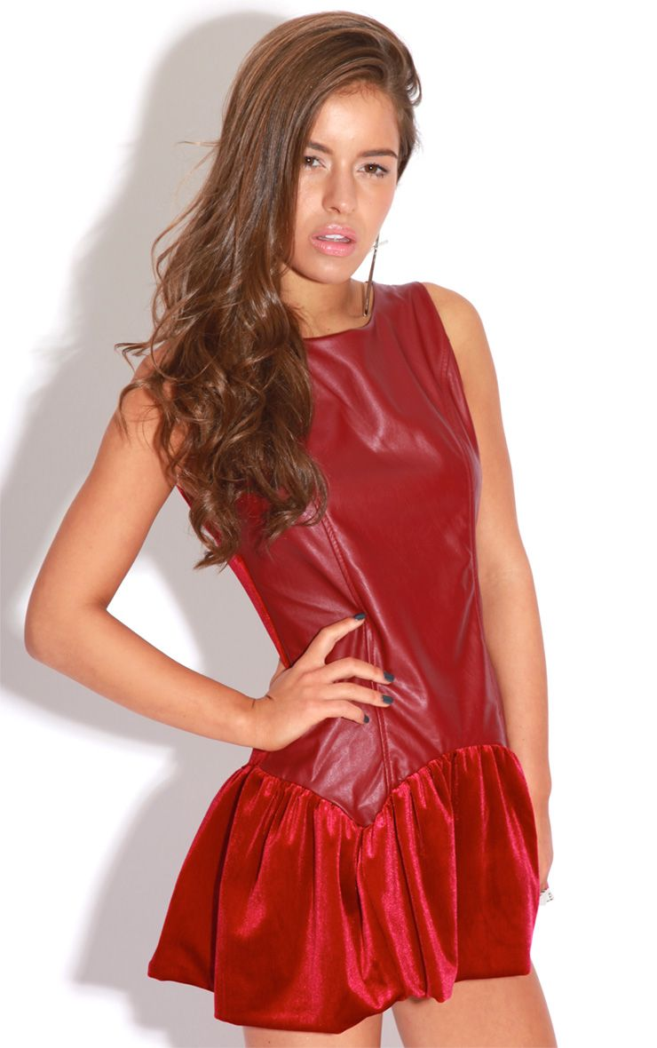 Cleo Red PU & Velvet Dress 1