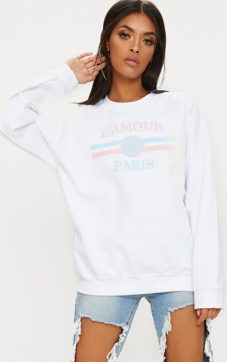 White Lamour Slogan Sweater