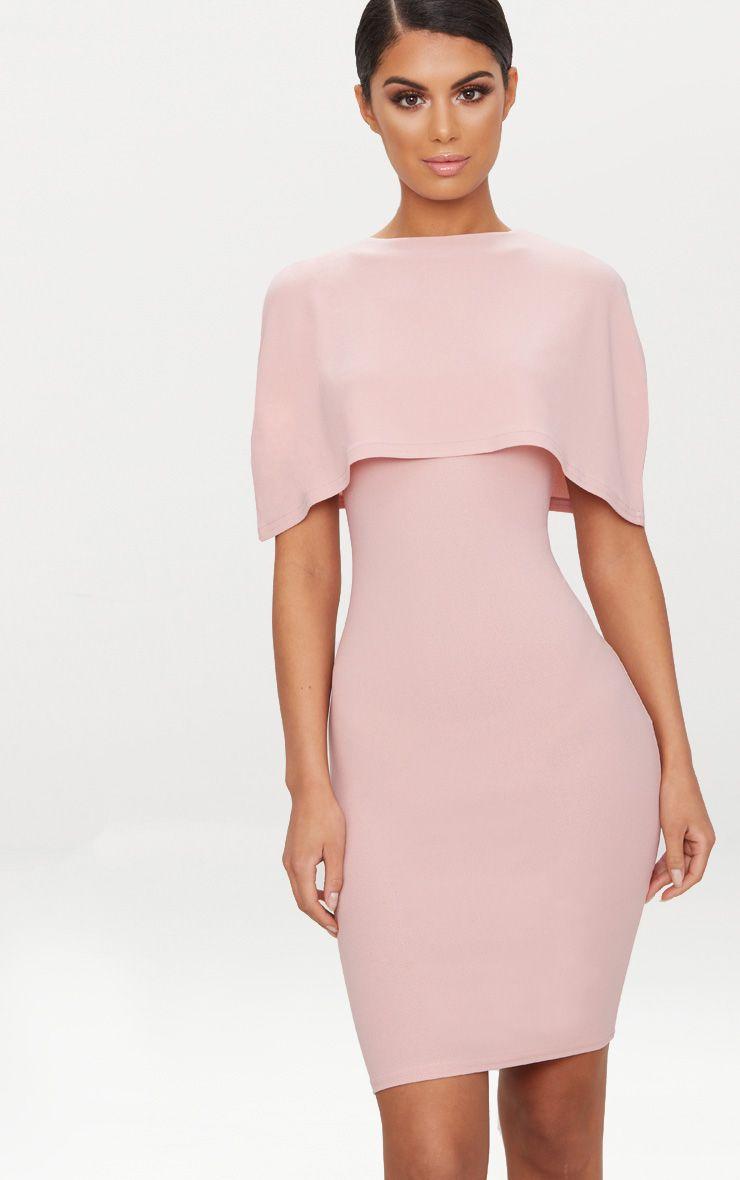 Dusty Pink Cape Detail Midi Dress