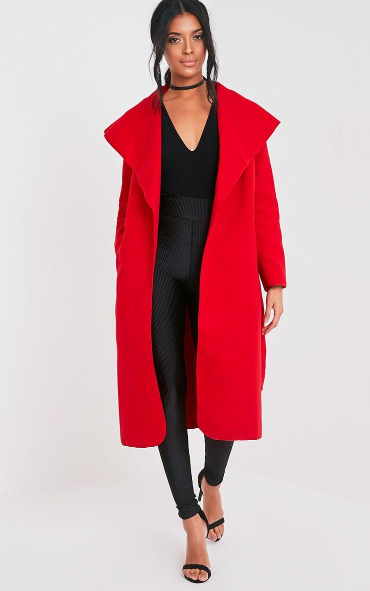 Veronica Red Waterfall Coat 1