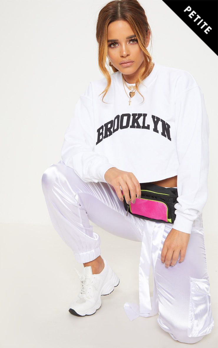 Petite White Brooklyn Extreme Cropped Sweater
