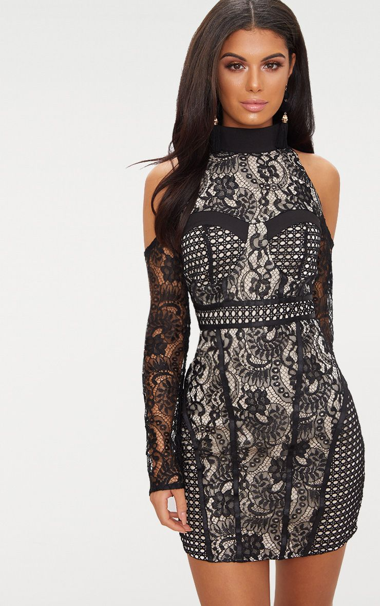 Black Cold Shoulder Lace Panelled Bodycon Dress