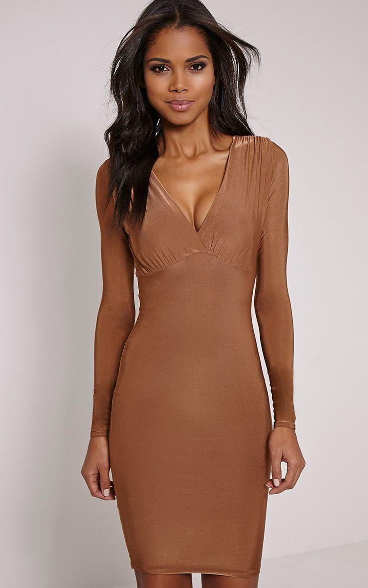 Adirenne Tan Slinky Deep V Neck Mini Dress 1