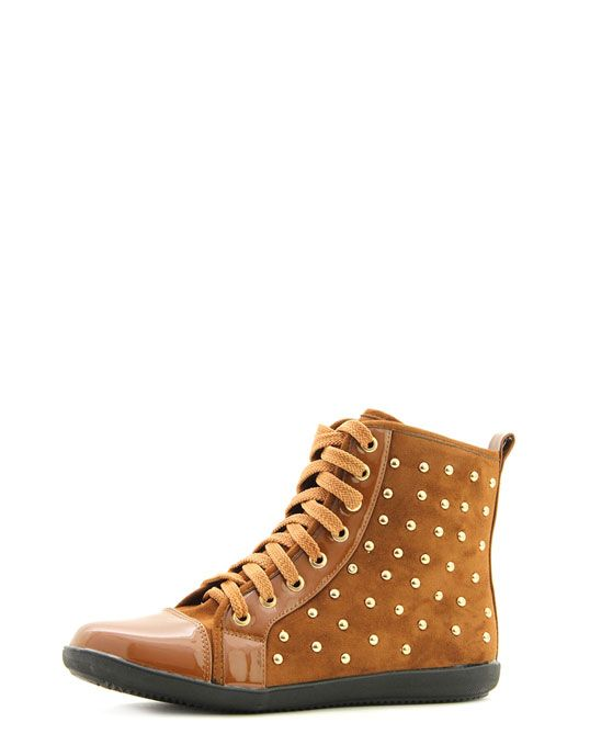 Noelle Camel Studded Hi Top Trainers 1