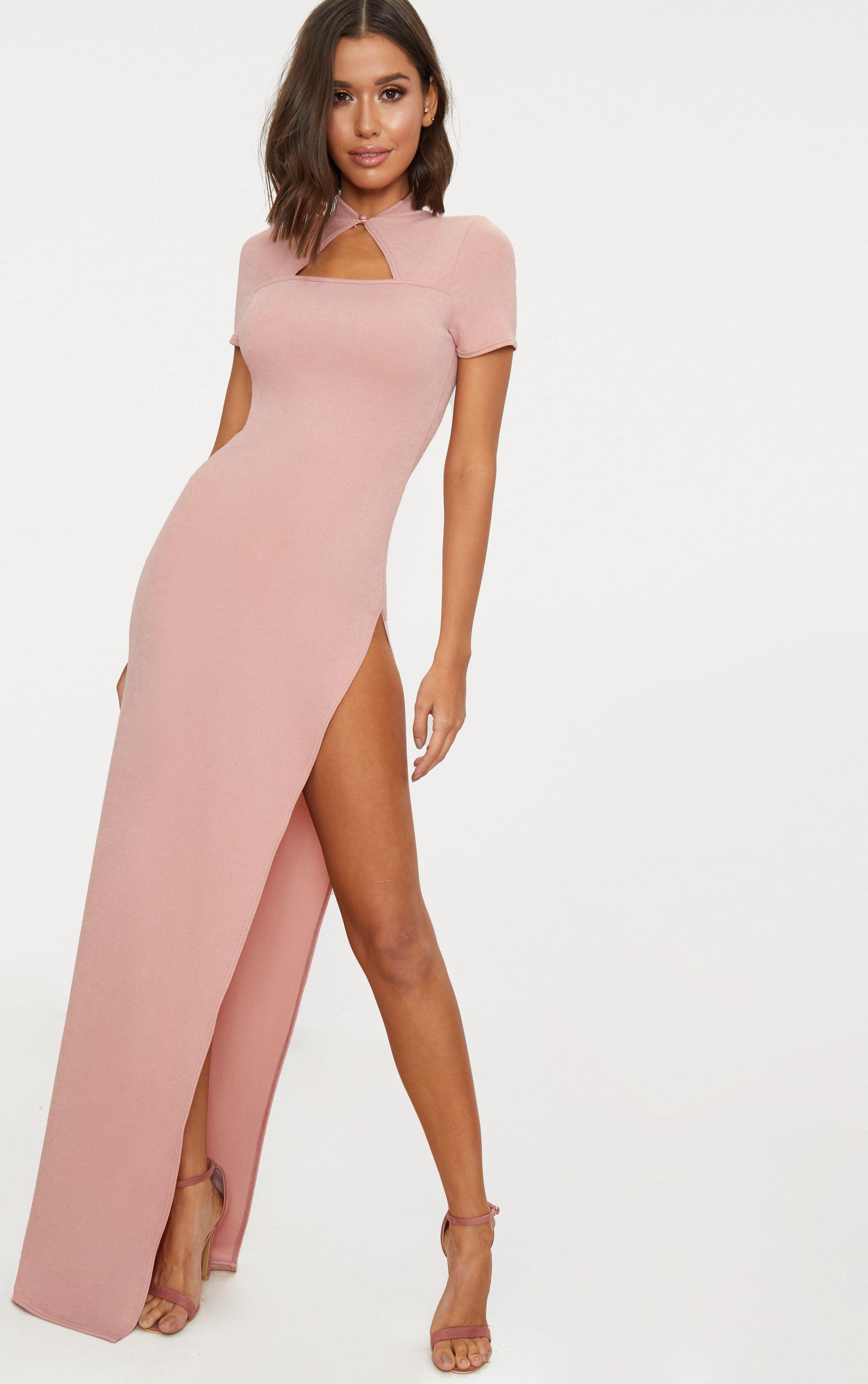 Dusty Pink Oriental Cut Out Detail Maxi Dress