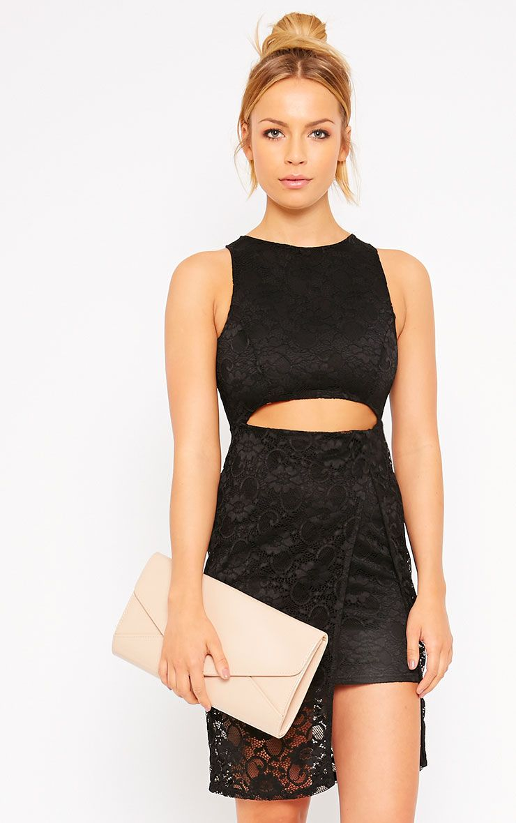 Maliha Black Lace Cut Out Dress 1