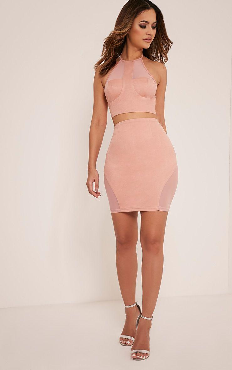 Cleo Blush Mesh Insert Mini Skirt