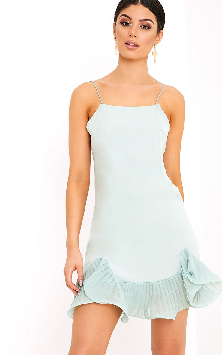 Darshia Sage Green Strappy Pleated Frill Hem Shift Dress