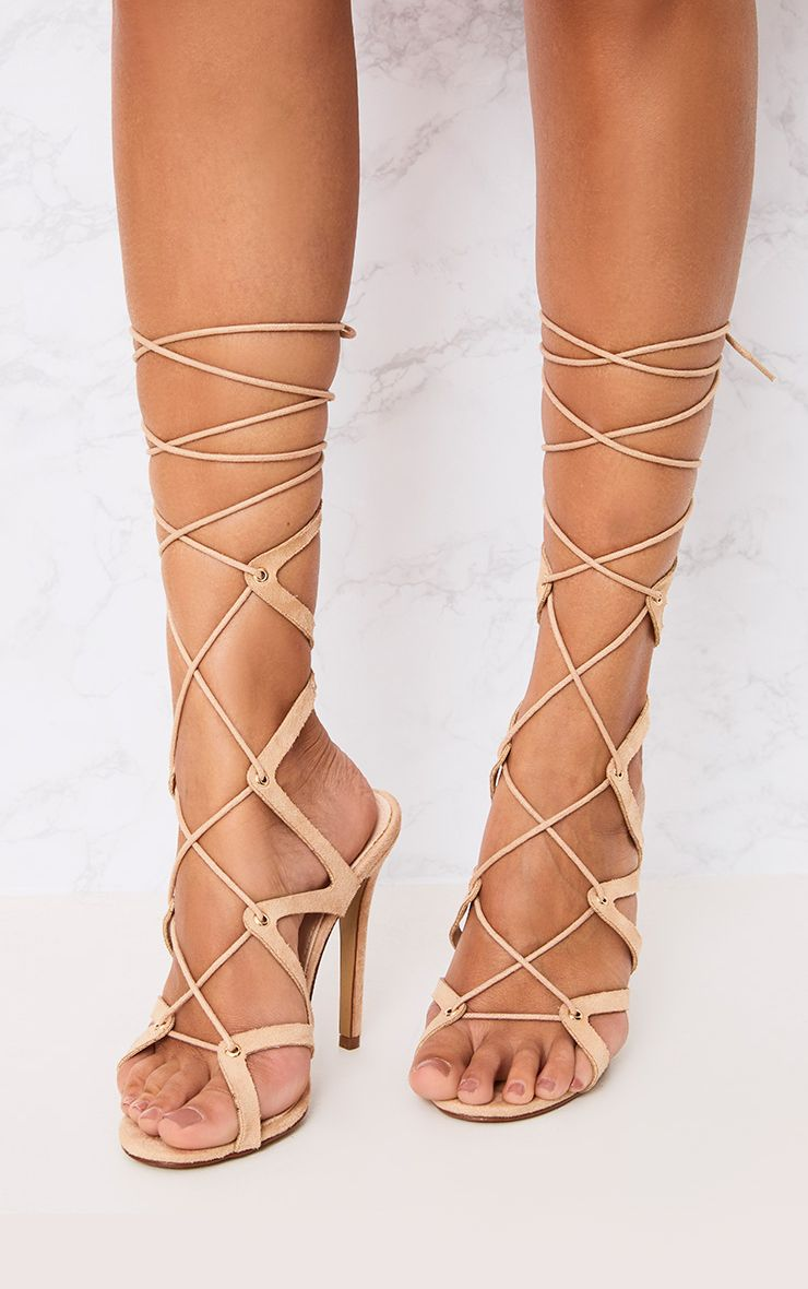 Marie Nude Lace Up Cut Out Heeled Sandals
