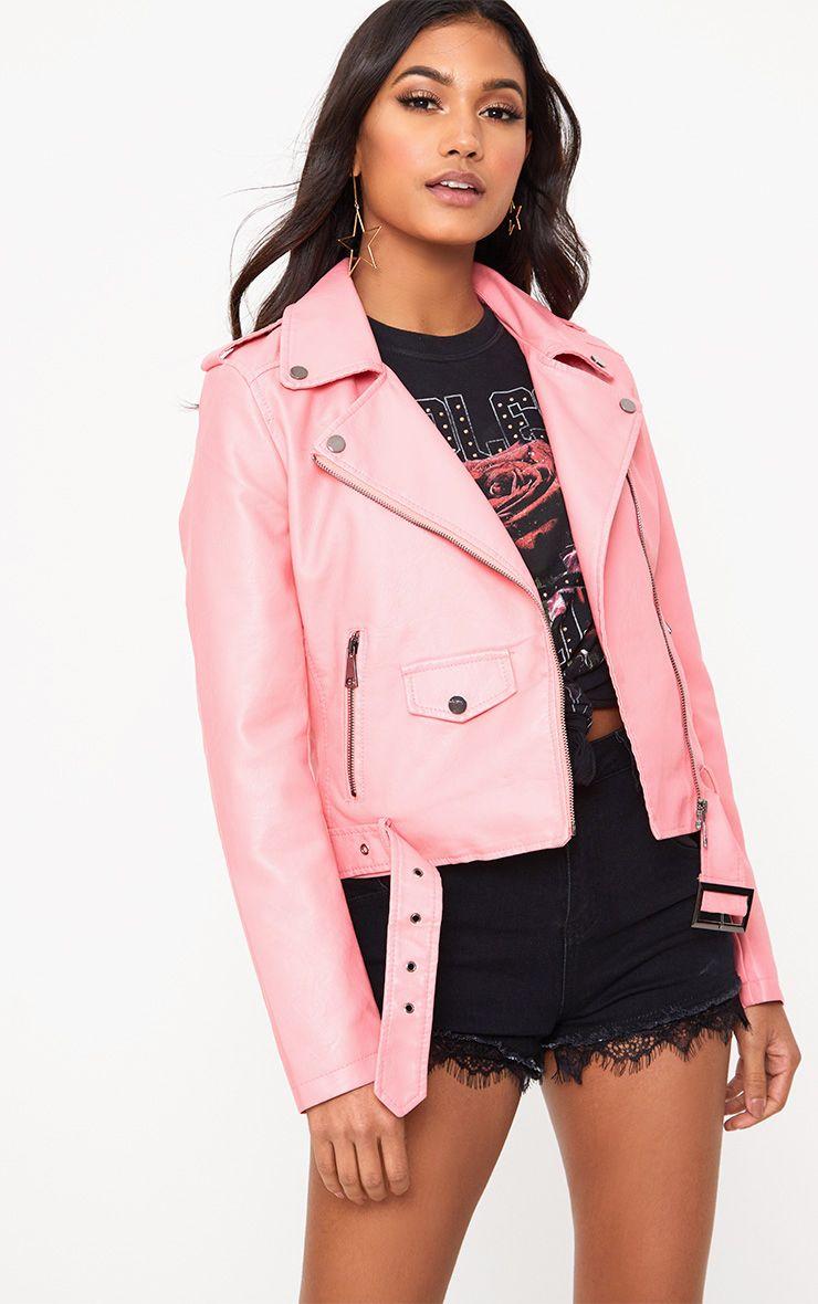 Pink PU Biker Jacket