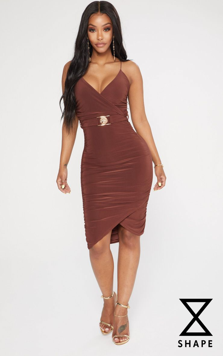 Shape Chocolate Slinky Lion Trim Midi Dress