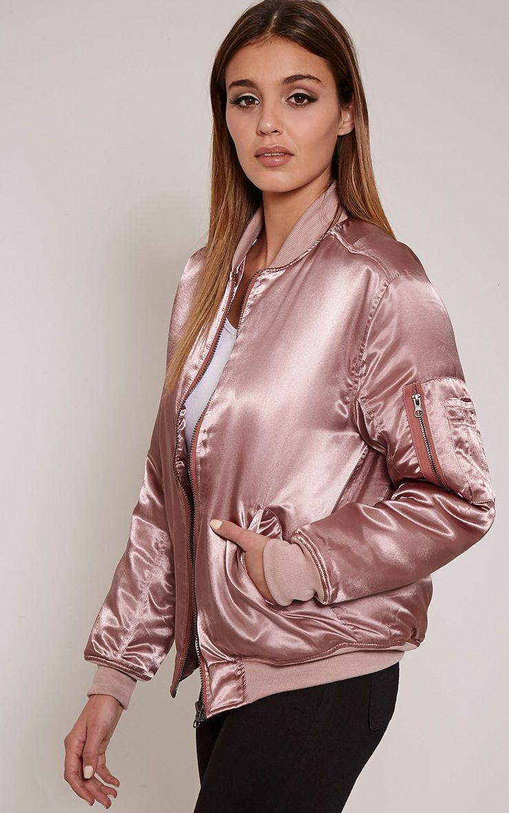 Cruz Mauve Satin Oversized Bomber Jacket 1
