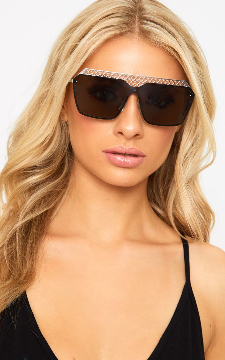Silver Cage Topped Square Lens Sunglasses