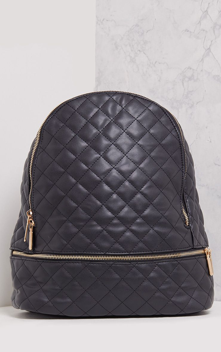 Lilla Black Quilted Zip Backpack