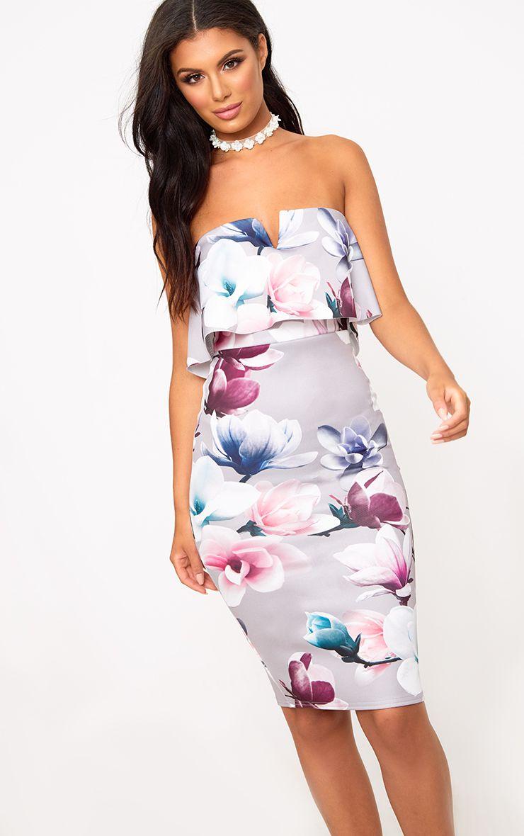 Grey Floral Bandeau Midi Dress