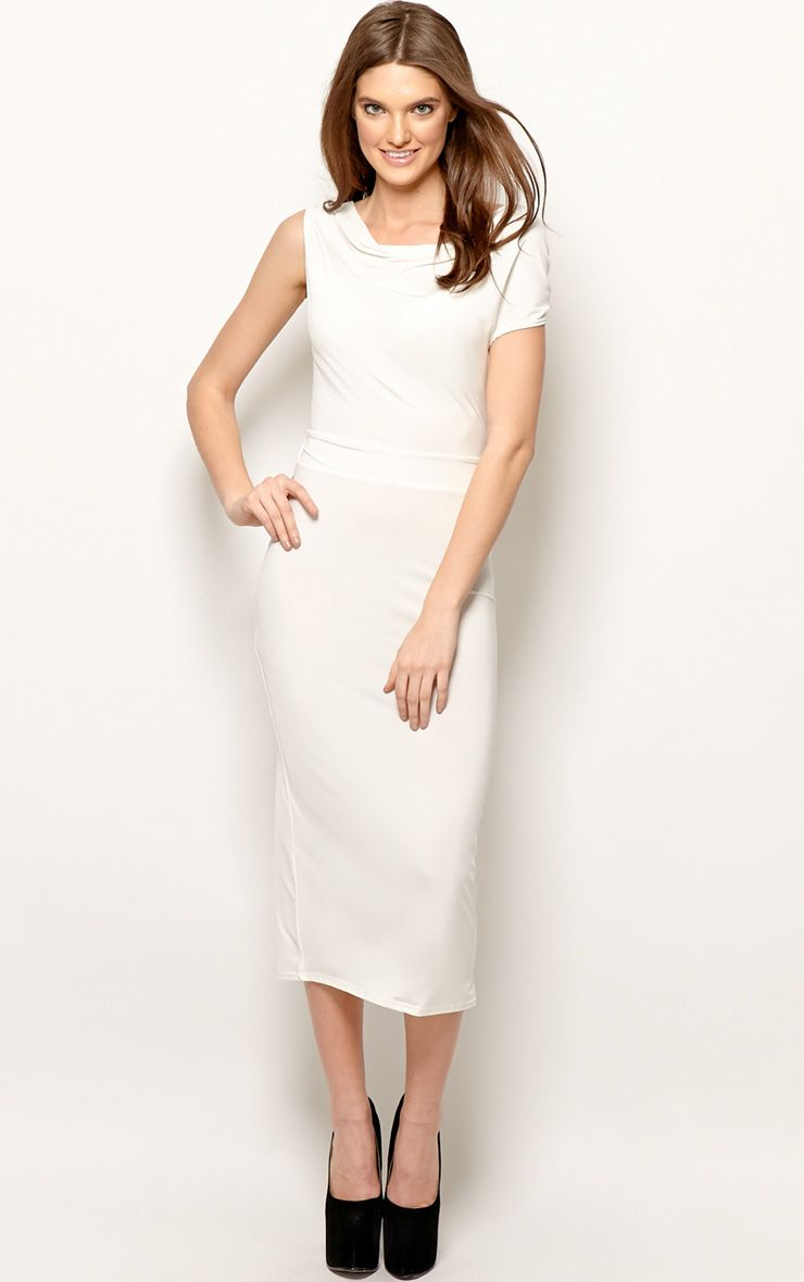 Product photo of Chrissy white silk cowl front midi dress white