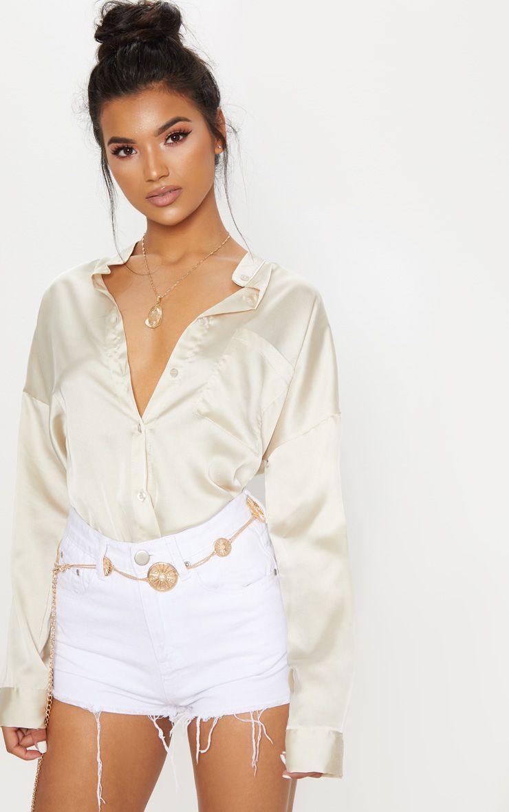 Champagne Grandad Collar Satin Shirt