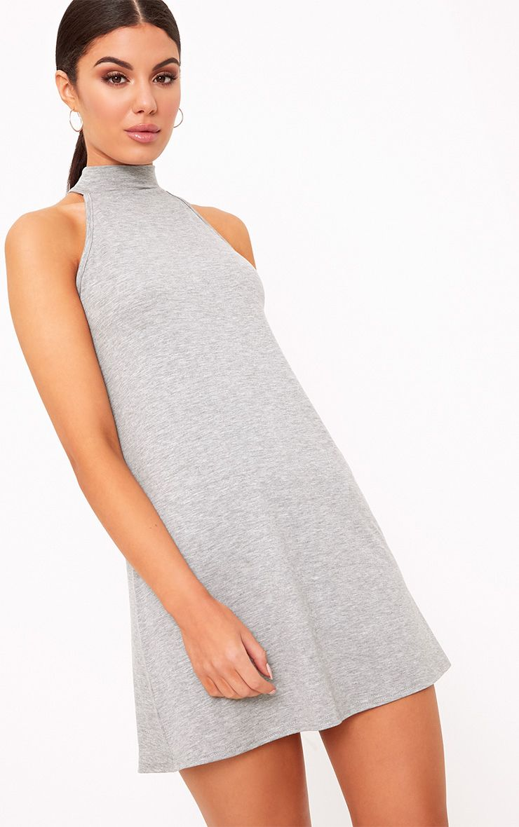 Grey Marl Jersey High Neck Swing Dress