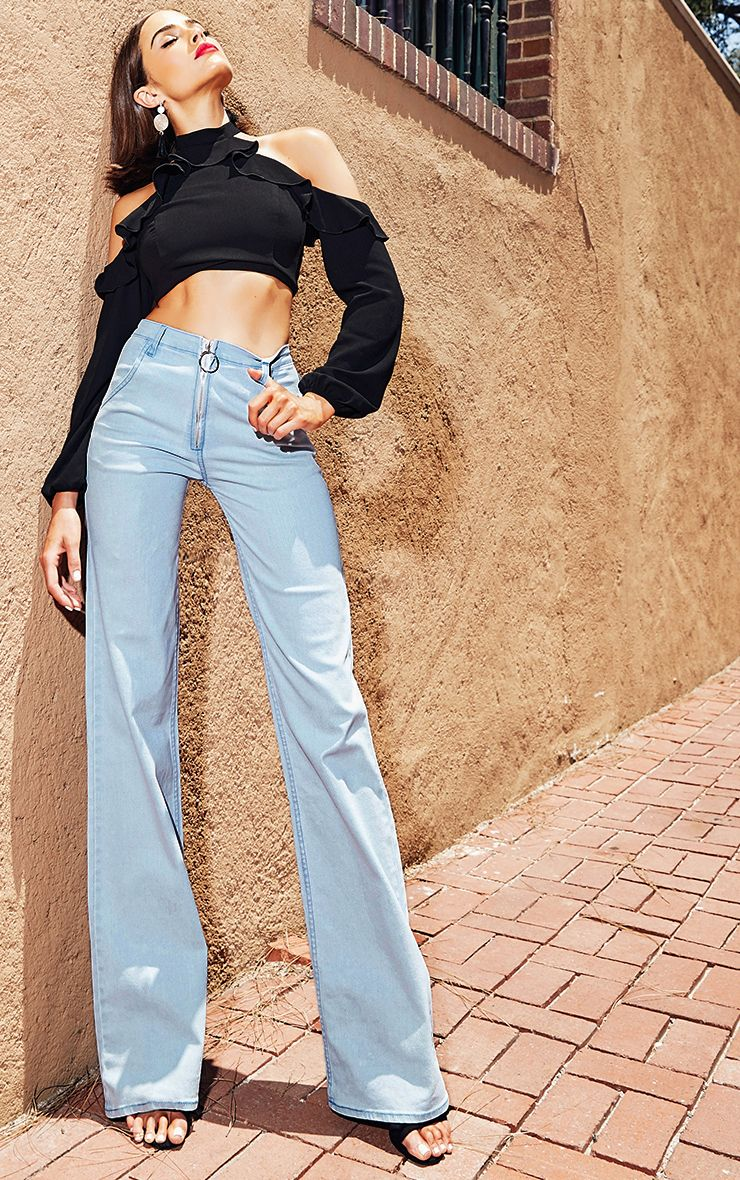 Light Wash Ring Pull Extreme Wide Leg Jeans