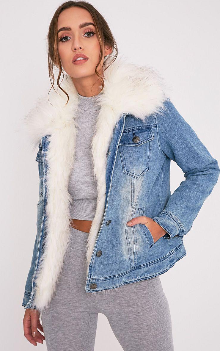 Yalena Denim Premium Faux Fur Lined Jacket