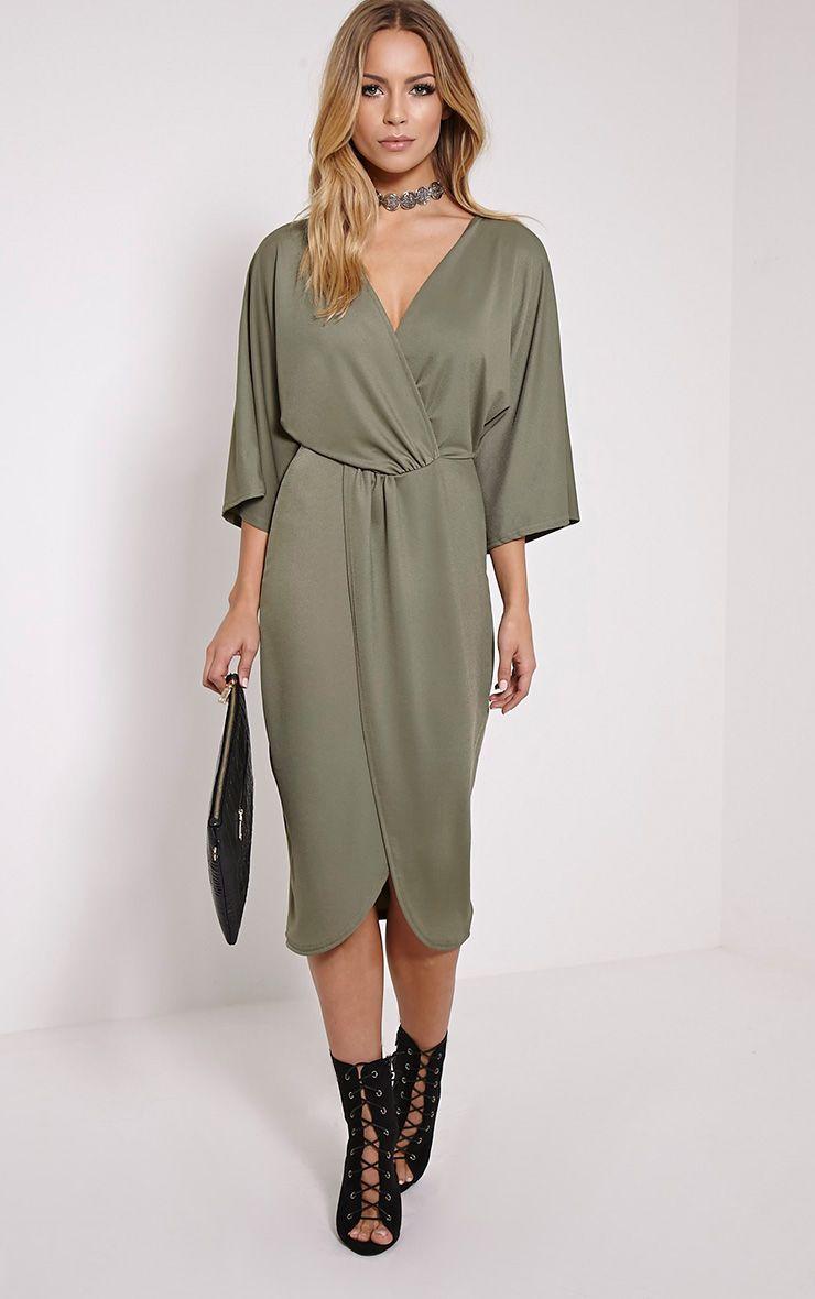 Archer Khaki Cape Midi Dress