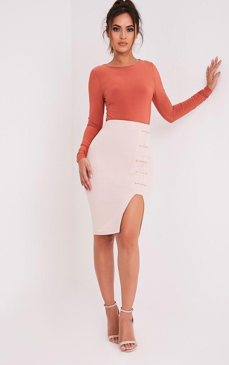 Rosella Nude Pin Detail Midi Skirt
