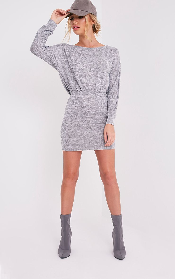 Lerie Grey Waist Fitted Knit Dress 1