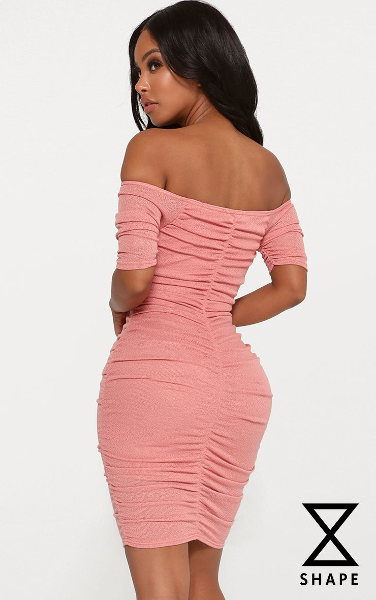Shape Dusty Rose Lightweight Knit Bardot Dress