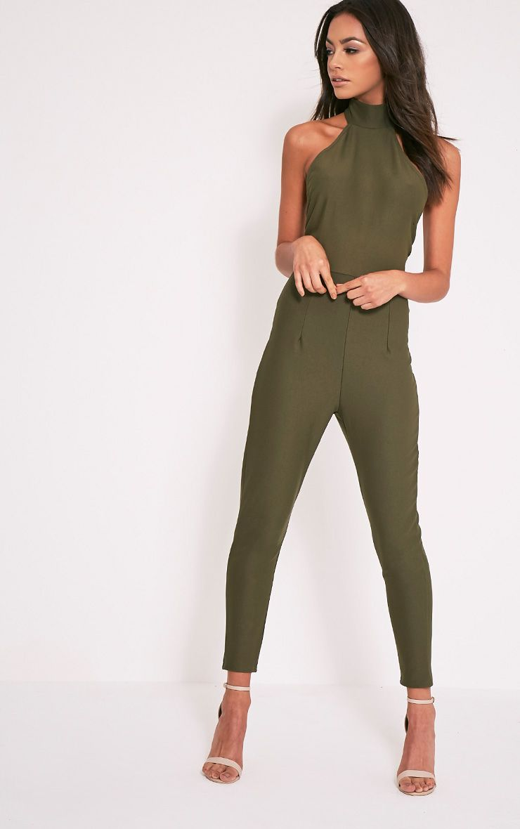 Aliana Khaki Backless Jumpsuit 1