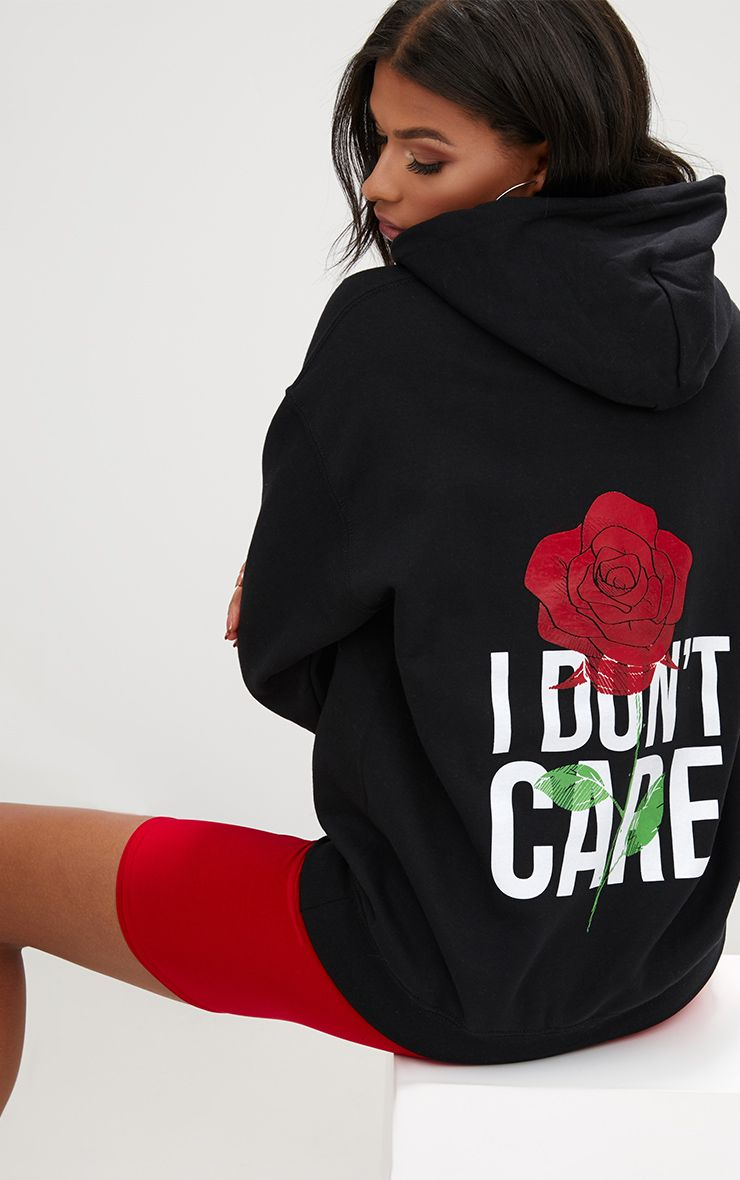 Black I Don t Care Slogan Back Oversized Hoodie
