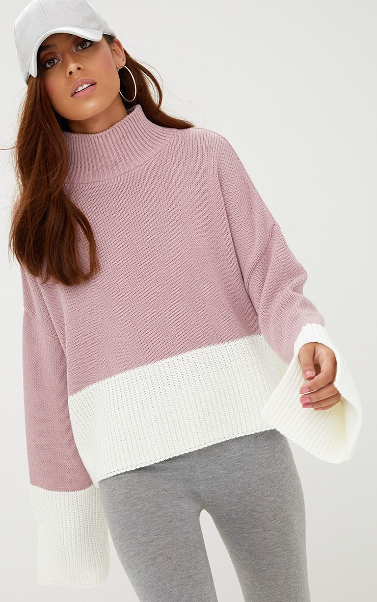 Blush Colour Block Funnel Neck Jumper