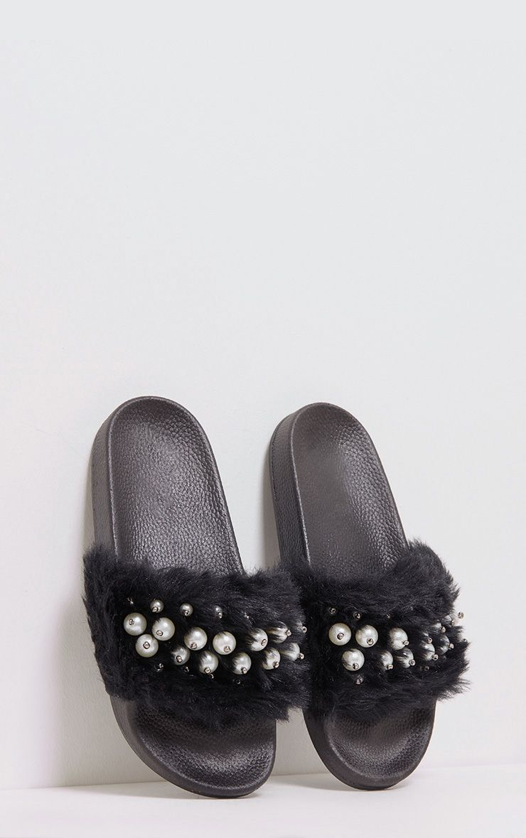 Libby Black Faux Pearl Fluffy Sliders