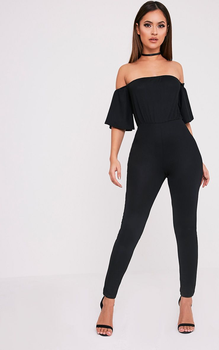 Junna Black Bardot Crepe Jumpsuit 1