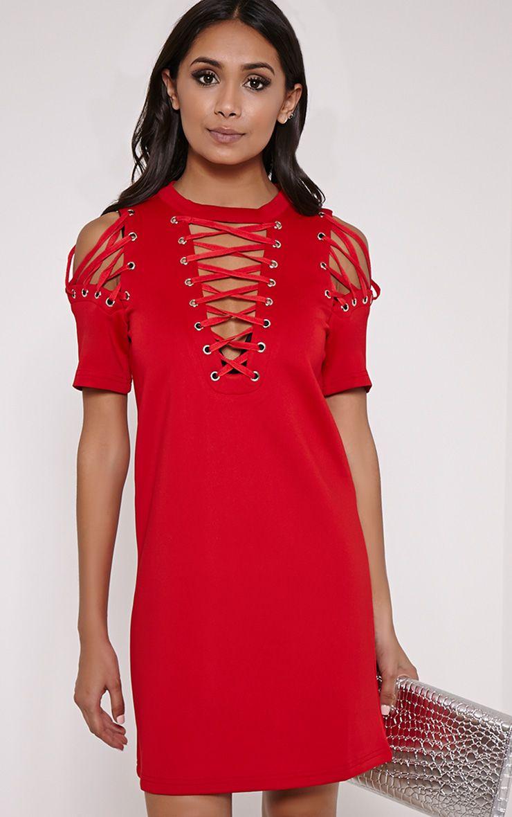 Rowan Red Scuba Lace Up Shift Dress 1