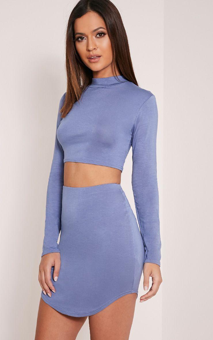 Ariana Petrol Blue Curved Hem Mini Skirt 1