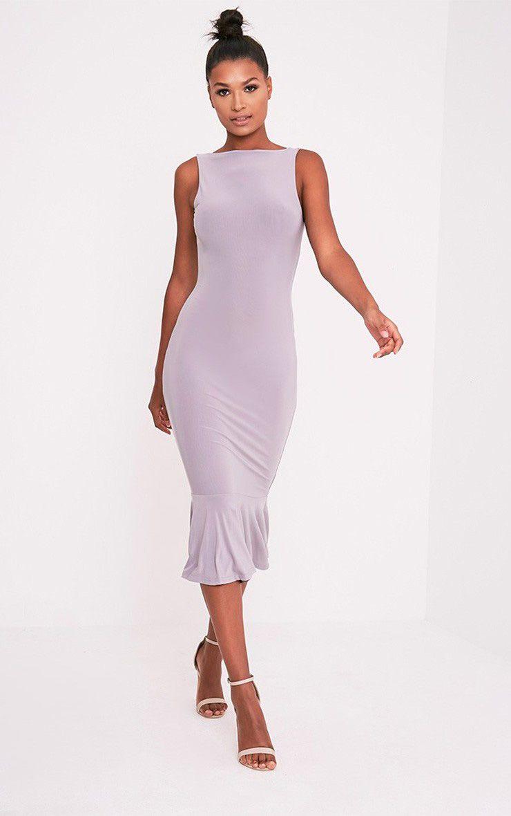 Tasha Ice Grey Drop Hem Midaxi Dress 1