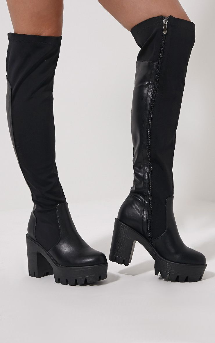 Zeana Black Chunky Cleated Sole Over Knee Boots 1