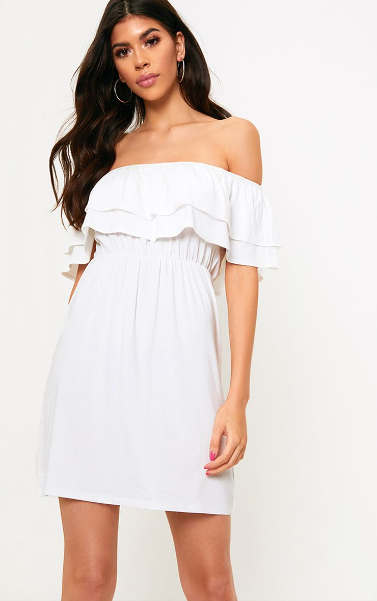White Jersey Double Frill Bardot T Shirt Dress