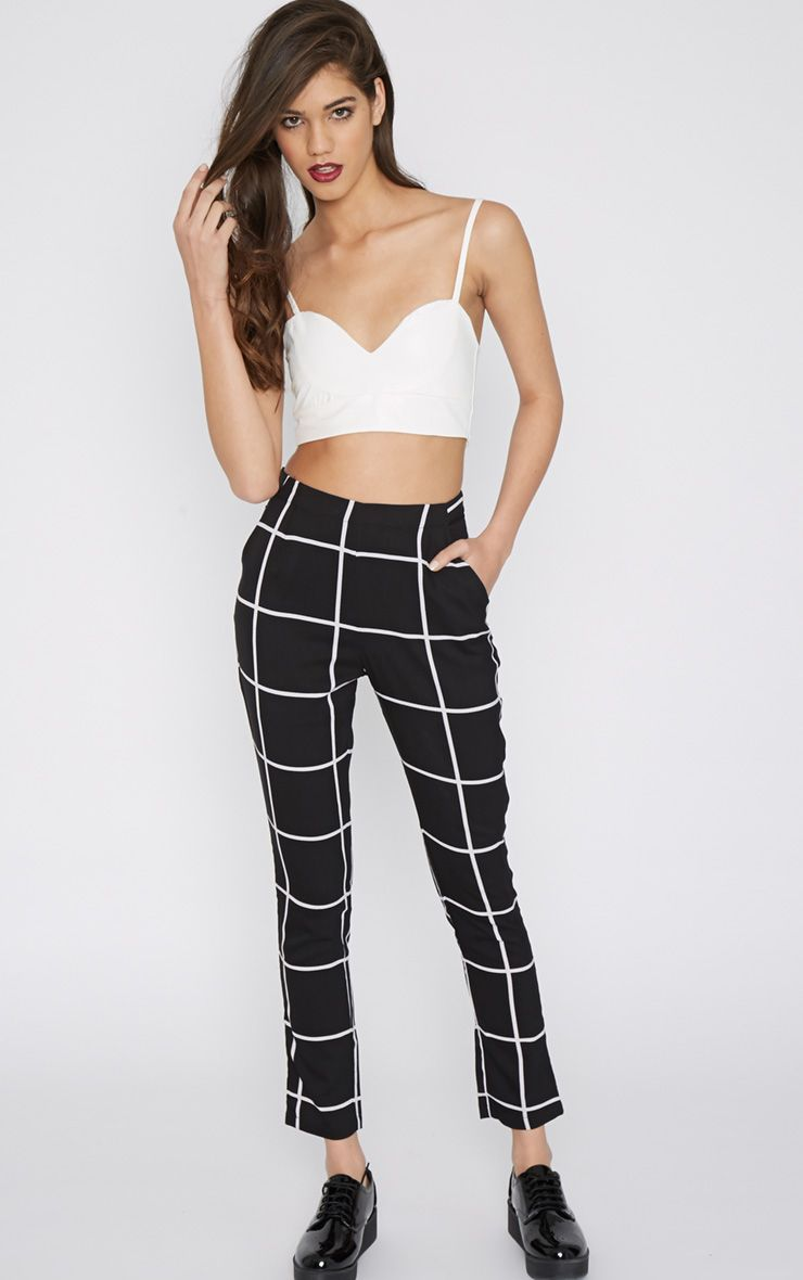 Antonia Monochrome Square Print Trouser 1