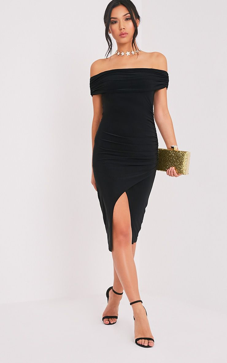 Briany Black Slinky Bardot Midi Dress