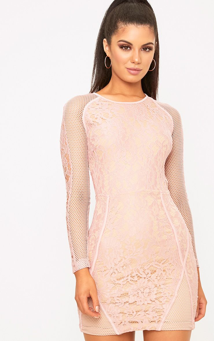 Ida Dusty Pink Lace Fishnet Panel Bodycon Dress